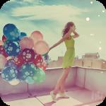 Аватар Девушка с воздушными шарами стоит на крыше дома