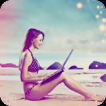 Аватар Девушка сидит на песчаном пляже, держа на коленях ноутбук