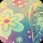 Аватар Нога человека в цветных кедах, на асфальте среди нарисованных цветов