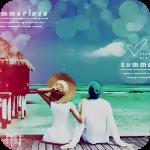 Аватар Парень и девушка сидя на пристани, смотрят на море