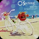 Аватар Велосипед с корзиной цветов на багажнике, чтоящий на пляже