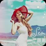 Аватар Девушка в шляпе на фоне моря и гор