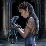 Аватар Девушка - эльф держит в руках синего дракона