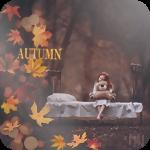 Аватар Девочка сидит на кровати в осеннем лесу, прижимая к себе игрушечного медведя