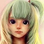 Аватар Лицо девочки с большими глазами и хвостиком на голове