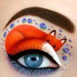 Аватар Над голубым глазом девушки сделан макияж в виде нарисованной лисы, by scarlet-moon1
