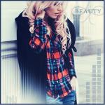 Аватар Девушка с длинными светлыми волосами в клетчатой рубашке (beauty / красота)