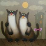 Аватар Кот и кошка сидят обнявшись на крыше, над ними светит Луна