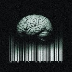 Аватар Мозг со штрих-кодом на черном фоне, man is obsolete