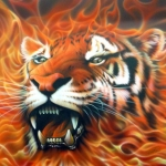 Аватар Морда тигра в огне