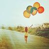 Аватар Девушка бежит с воздушными шариками