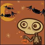 99px.ru аватар Скелет с тыквой и летучие мыши