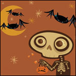 Аватар Скелет с тыквой и летучие мыши
