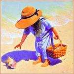 Аватар Девочка в шляпе собирает на берегу ракушки