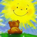 Аватар Медвежонок смотрит на улыбающееся солнце