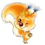 Аватар Подмигивающая белочка с орешком в лапках