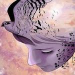 Аватар Голова девушки с нарисованными птицами и веткой дерева, by GalileeMorningstar