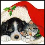Аватар Котенок и щенок спят под новогодней шапкой