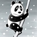 Аватар Испуганная панда на палке и идет снег