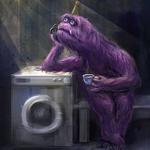 Аватар Монстр возле стиральной машинки пьет чай