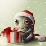 Аватар Милый монстрик в новогодней шапке сидит у подарка