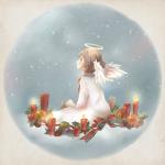 Аватар Рождественский ангелочек сидящий на облаке
