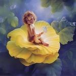 Аватар Обнаженный ребенок сидит в желтом цветке с голубой бабочкой на руке, художник Кирк Рейнерт / Kirk Reinert/