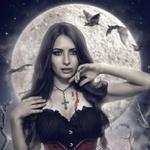 Аватар Вампиресса напротив луны и летучих мышей