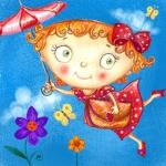 99px.ru аватар Девочка с зонтиком, бантиком и сумочкой в воздухе