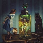 Аватар Алиса а стране чудес, она стоит на столе перед пузырьком с девушкой, by Black-B-o-x