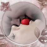 Аватар Мужчина и женщина держат губами ягоду клубнику