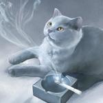 Аватар Кот возле пепельницы смотрит на дым