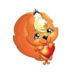 Аватар Улыбающаяся белочка с сердечком в лапках