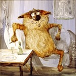 Аватар Довольный кот с сигаретой за накрытым столом, работа Анатолия Ярышкина