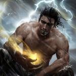 Аватар Прометей принес огонь людям, в небе сверкают молнии, посланные вслед разгневанным Зевсом