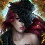 Аватар Девушка с рыжими волосами и птицей на лице