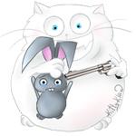 Аватар Кот приставил револьвер к виску кролика, by Kittyklawtv