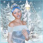 Аватар Девушка с высокой прической с голубой челкой и голубым бантом в волосах