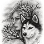 Аватар Девушка с волком, by Zindy