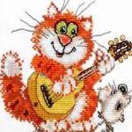 Аватар Кот с гитарой и рядом мышка