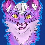 Аватар Веселый фиолетовый с желтыми глазами львенок, высунул язык, by autumnrulestheworld