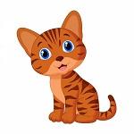Аватар Полосатый рыжий котенок на белом фоне
