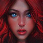 Девушка с красными волосами арт