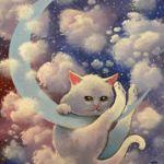 Аватар Белый котенок висит на месяце, by Raphael Vavasseur