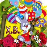 Аватар Кролик на букете роз, держит шарики в виде крашенных пасхальных яиц (Х. В.)