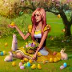 Аватар Девушка в окружении пасхальных яиц и кроликов держит в руке цыпленка