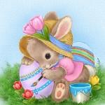 Аватар Кролик в шляпке раскрашивает пасхальное яйцо