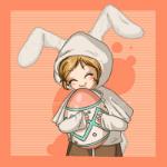 Аватар Ребенок в костюме кролика держит разукрашенное яйцо