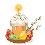 Аватар Пасхальный кулич со свечкой, крашенные яйца и верба