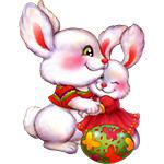 Аватар Пасхальные яйца рядом с обнимающимися кроликами
